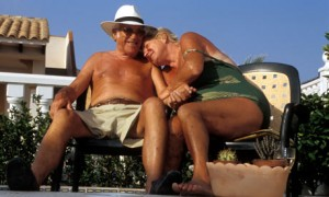 A retired British couple living in Costa Blanca, Spain.